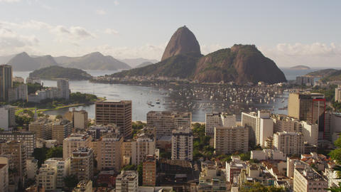 Daylight shot of Rio de Janeiro and traffic on the ocean avenue Footage