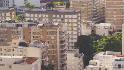 Pan shot of park, street, and apartments in Rio de Janeiro, Brazil Footage