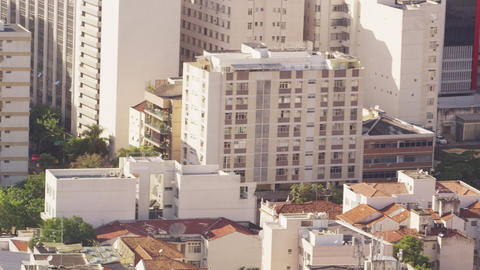Pan shot of residential and business buildings in Rio de Janeiro, Brazil Footage