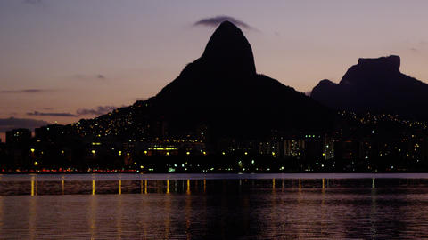 Peaceful bay and city lights - Rio de Janeiro, Brazil Footage