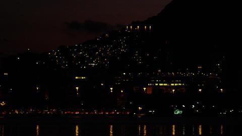 Pan of nighttime downtown Rio De Janeiro Footage