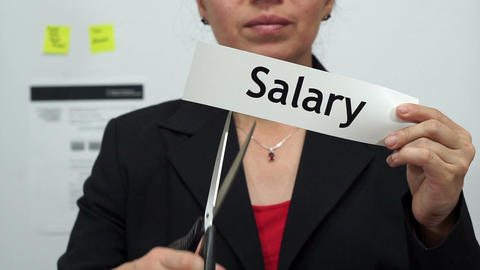 Businesswoman Cuts Salary Concept Footage
