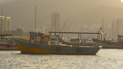 Static shot of a lone boat floating in Guanabara Bay Footage
