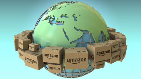 Boxes with AMAZON logo rotate around the world, Africa and Europe emphasized Footage