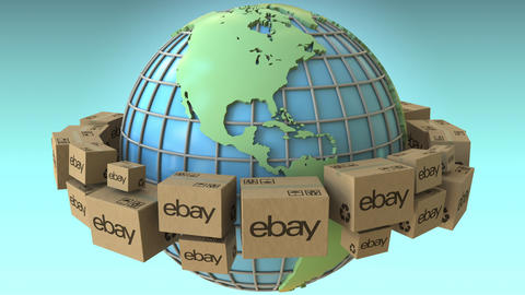 Boxes with eBay logo around the world, America emphasized. Conceptual editorial Live Action