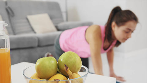 Healthy lifestyle, fitness. A sports woman who works in... Stock Video Footage