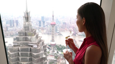 Asian woman drinking martini alcoholic drink while... Stock Video Footage