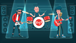 Rock band singer, guitarist, drummer playing on stage Animation