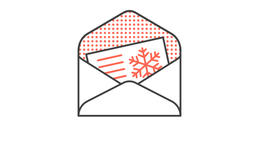 Festive Christmas greetings card in envelope Animation