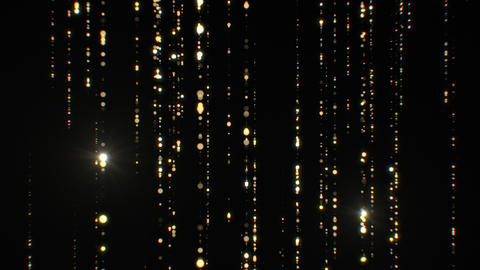 Beautiful Golden Rain Particles Falling Twinkling on Black Background Seamless Animation