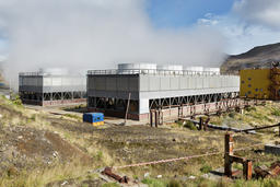 Fan cooling towers of Geothermal Power Station Fotografía