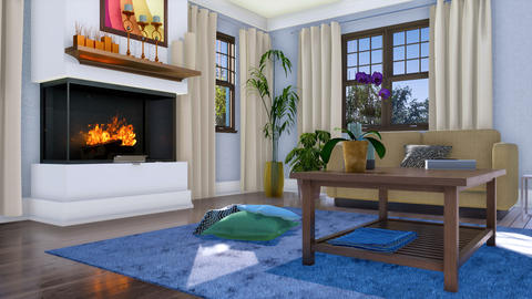 Modern fireplace in cozy living room interior 3D Footage