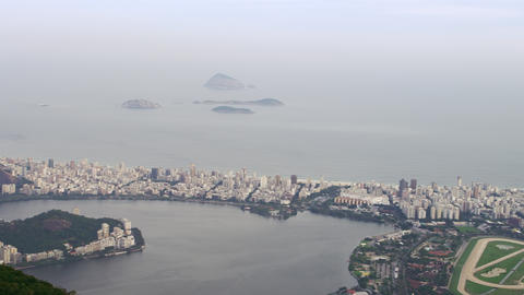 Aerial shot of Rio surrounding corcovado mountain and bay Footage