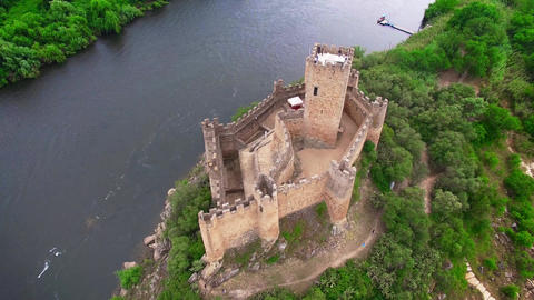 Almourol Castle aerial view Footage