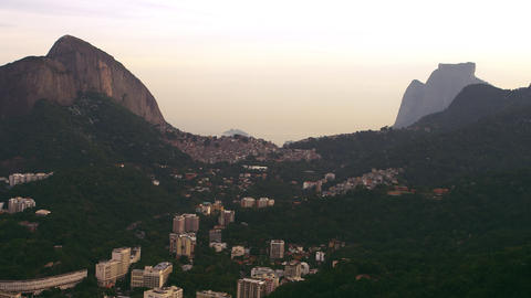 High-definition aerial shot of highlands and buildings - Rio de Janeiro, Brazil Footage
