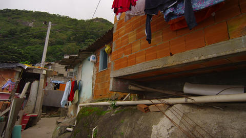 Slow pan of favela grounds in Rio de Janeiro, Brazil Footage