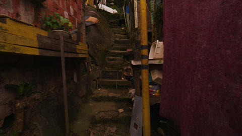 RIO DE JANEIRO, BRAZIL - JUNE 23: Tracking Shot up a flight of narrow stairs in  Footage