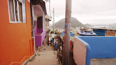 RIO DE JANEIRO, BRAZIL - JUNE 23: Slow dolly shot of favela alley on June 23, 20 Footage