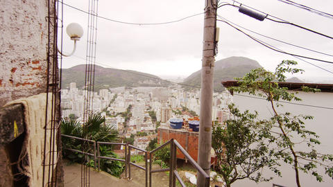Slow dolly shot of view from a favela in Rio de Janeiro, Brazil Live Action