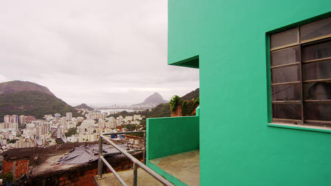 Dolly shot of houses in a favela in Rio de Janeiro, Brazil Footage