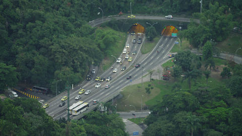 Heavier traffic heads south at a tunneled intersection in Rio de Janeiro Footage