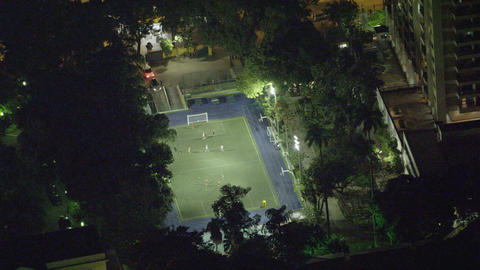 Short clip of a birds eye view of a late night soccer stadium in Rio de Janeiro Footage