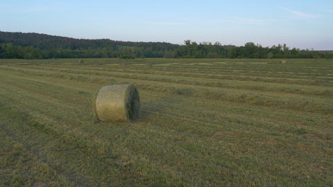 Aerial - Flight past bale of hay at sunset. Rows of hay still lying on a field Footage