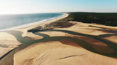 River flows into the ocean aerial lagoa albufeira Footage