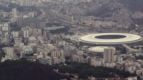 Aerial footage of urban Rio, including soccer stadium Footage