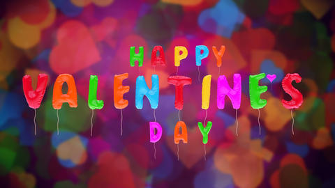 Multicolored Valentine's balloons on abstract BG Animation