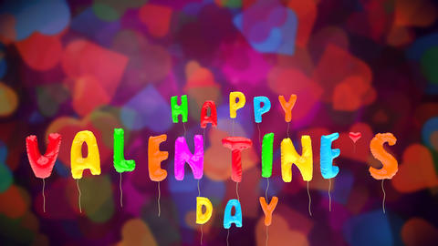 Multicolored Valentine's balloons fly up on BG Animation