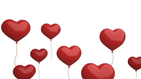 Red heart balloons flying isolated on white background for celebration event and Footage