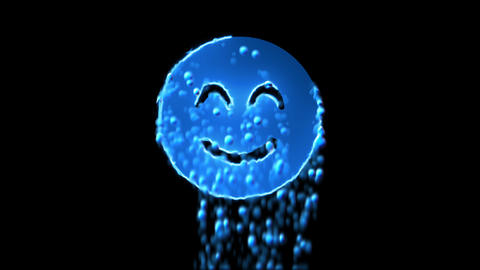 Liquid symbol smile beam appears with water droplets. Then dissolves with drops Animation