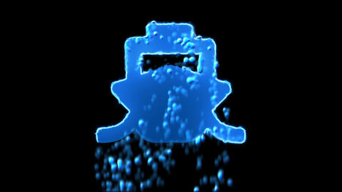 Liquid symbol ship appears with water droplets. Then dissolves with drops of Animation