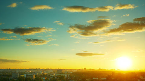 Sunset over a city timelapse Footage