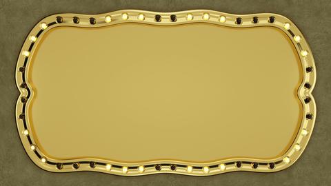 Lighting billboard blank gold banner seamless loop 3D render Animation