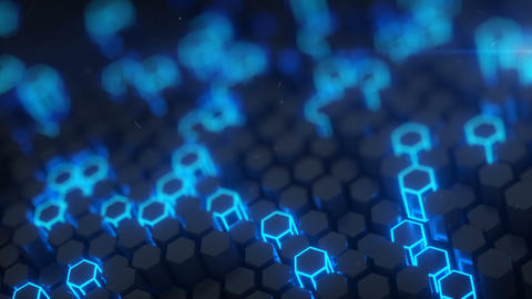 Hexagonal structure with blue neon light 3D render loopable Animation