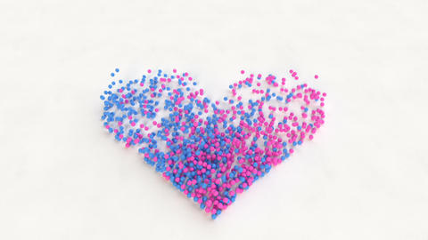 Blue and pink spheres hits and forming heart shape 3D render animation Animation