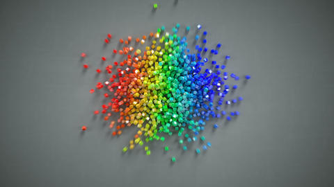 Rainbow heart shape falls and getting scattered 3D render animation Animation
