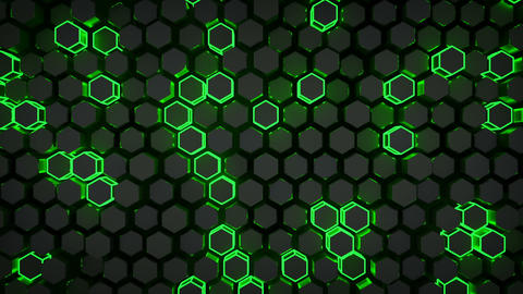 Wall of glowing green hexagons loopable 3D render animation Animation