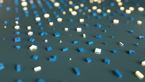 Dolly shot of abstract symbols seamless loop 3D render animation Animation