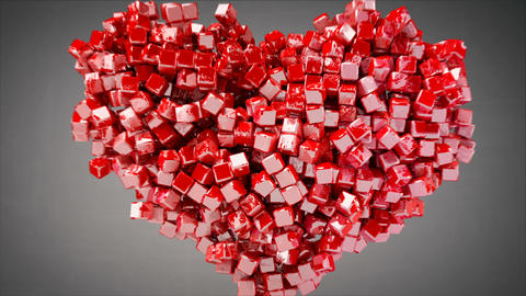 Heart shape of small red glossy pieces 3D render animation Animation