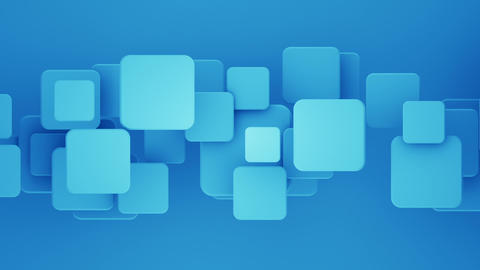 Overlapping blue squares 3D render loopable background Animation