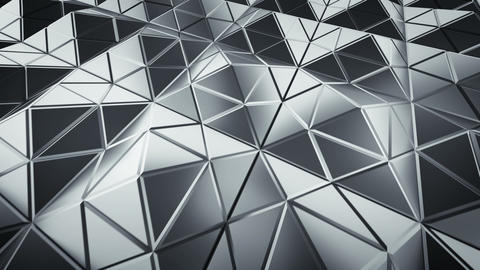 Futuristic polygonal grey shape in dynamic light 3D render loopable animation Animation