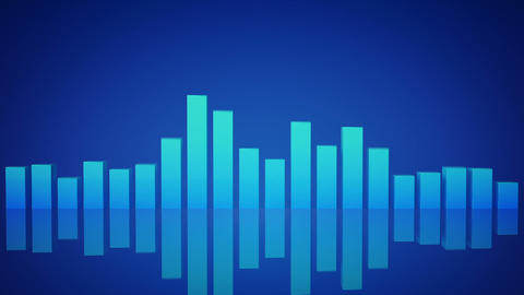 Blue music equalizer bars 3D render seamless loop animation CG動画
