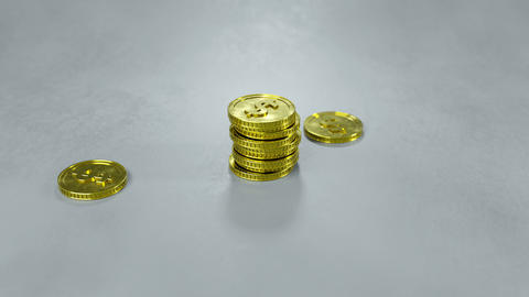 Growing stack of gold coins 3D render animation Stock Video Footage