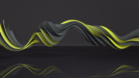 Yellow and gray twisted spiral shape spinning seamless loop 3D render animation Animation