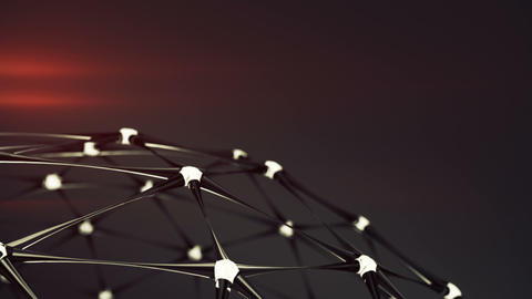 Network structure with glowing nodes seamless loop 3D render animation Animation