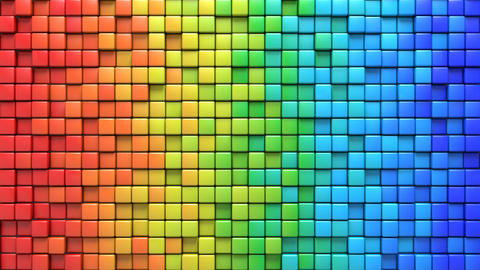 Wiggling cubes in colorful wall 3D render loopable animation Animation
