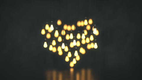 Heart shape of hanging light bulbs 3D render animation Animation